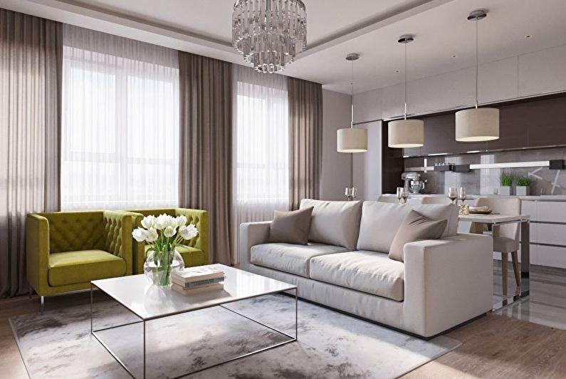 зонирование гостиной и кухни