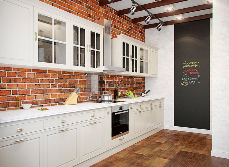 кухня с кирпичной стеной фото дизайн