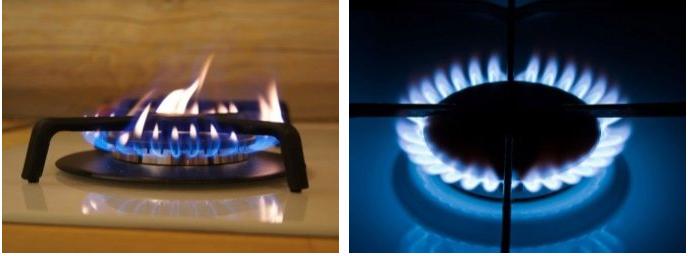 газ горит оранжевым а не синим пламенем