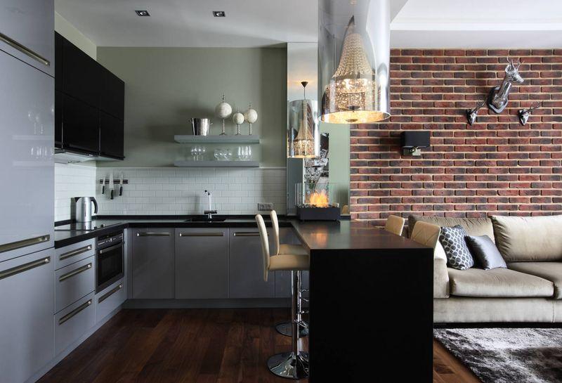 Зонирование кухни и гостиной: оригинальные решения