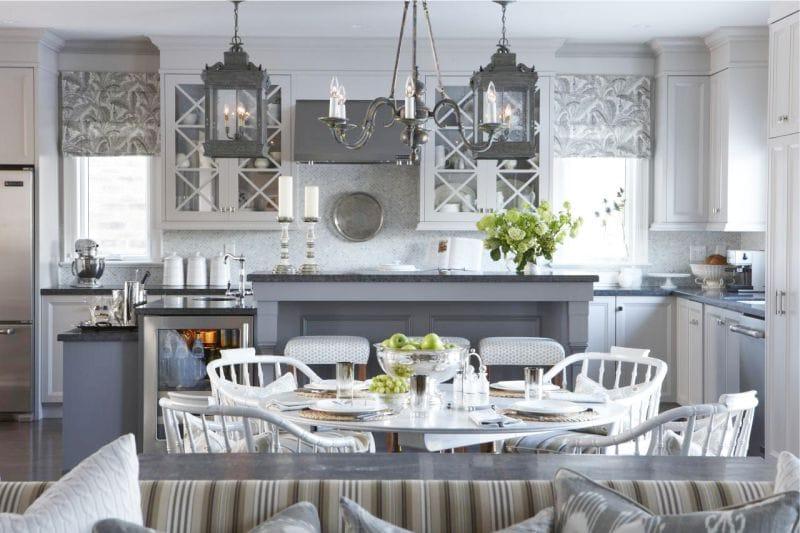 Серый кухонный гарнитур в интерьере