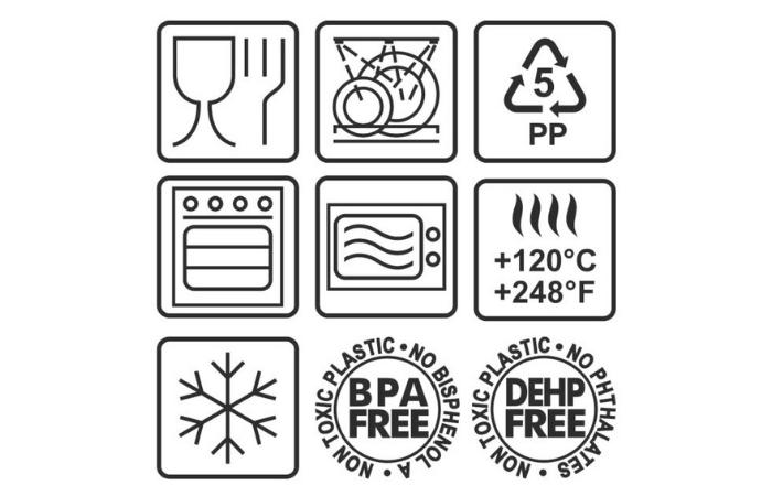 значки на пластиковой посуде